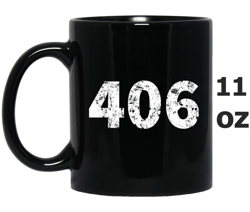 406 Montana Area Code Distressed Vintage Tee -Art-Mug OZ